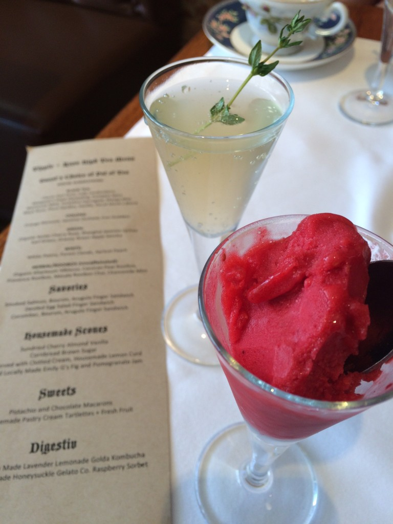 Just when you think you cannot eat or drink another thing, the refreshing digestive course arrives: locally made lavender lemonade golda kombucha (a fermented beverage) and raspberry sorbet locally made by Honeysuckle Gelato Co.