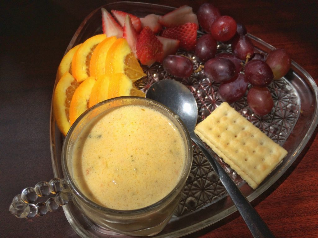 A generous sampling of fresh fruit is accompanied by an optional add-on of homemade soup, which changes seasonally. The flavorful broccoli cheese soup was neither overly salty nor too heavy.