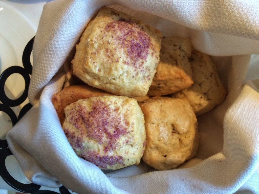 Lemon poppy seed and violet scones arrive. One of our party declares the violet scones are the best she's ever had. We wonder at how the violet flavor is so thoroughly infused throughout the scone.