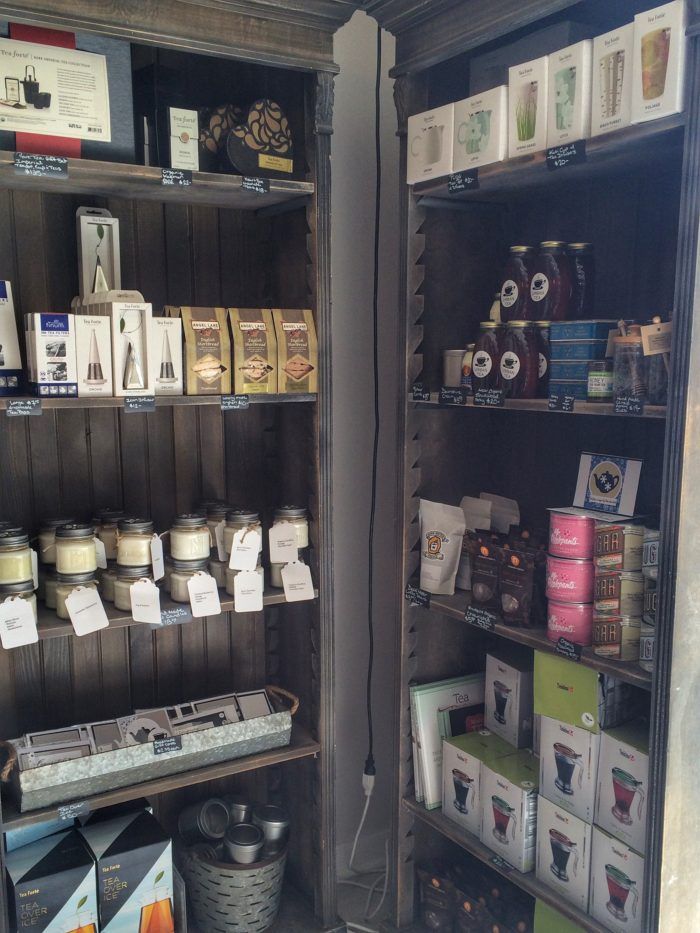 Tea gifts, condiments and home accessories are for sale up front in the store.