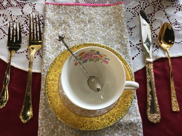 Love the creative touches like the condiment spoon with tiny teapot handle, golden utensils and Jessa's handmade cloth napkin