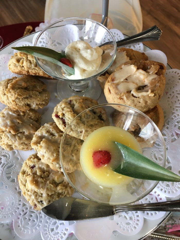 Scones with cream and lemon curd at Jessa's Tea Parlor