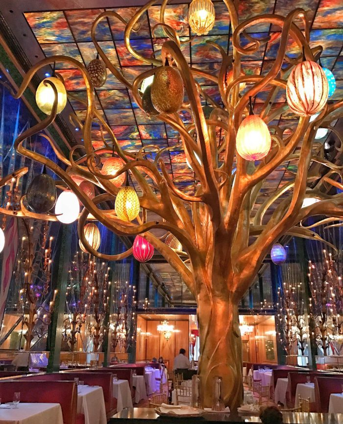 Tree with glass egg lights at Russian Tea Room