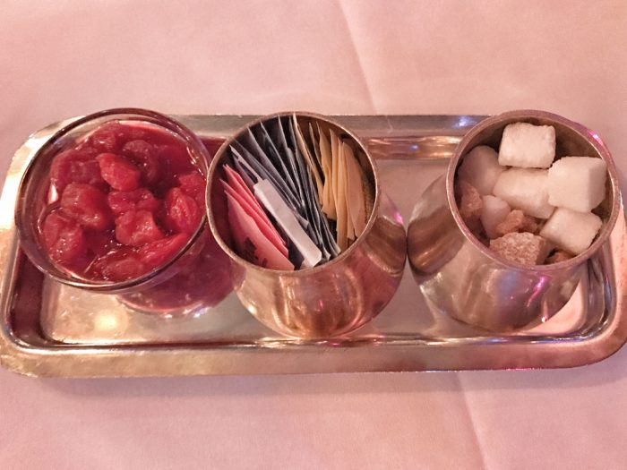 Sweetener tray at Russian Tea Room