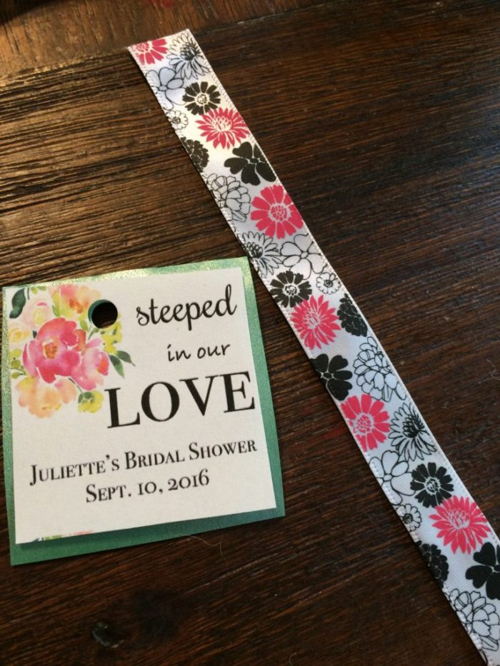 Preparing tag for Steeped in Love tea infuser favors