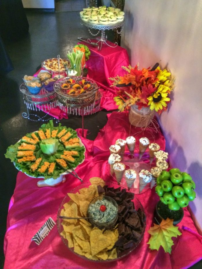 High tea buffet with savories and sweets at Three Southern Girls Tea Room