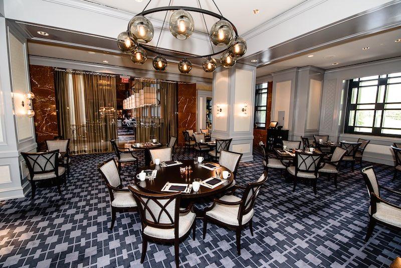 Tables set for tea at Park 75 at Four Seasons Atlanta