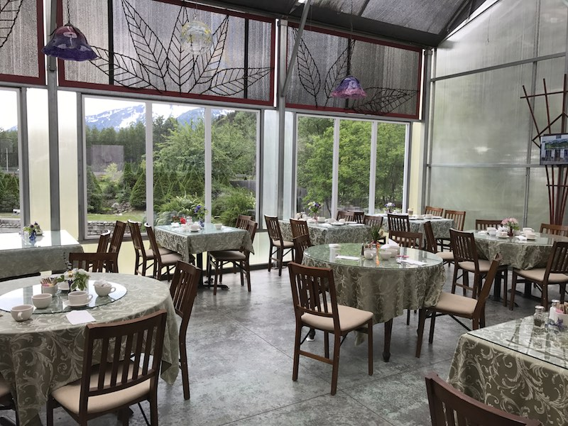 Tables set at Jewell Gardens, overlooking the gardens