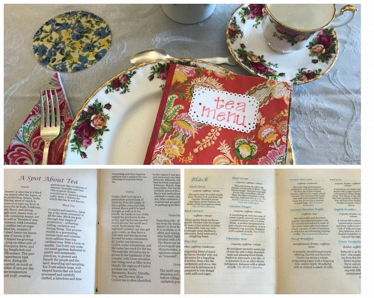 Tea list at Whitney's Tea Room