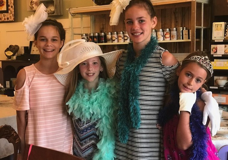 Girls at tea, Whitney's Tea Room, dressed up