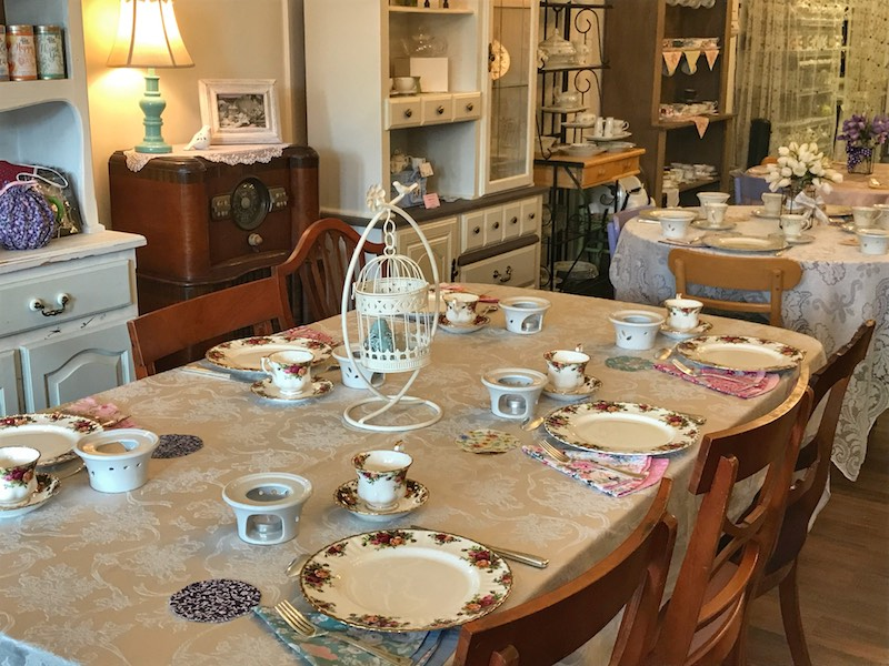 Tables set for tea at Whitney's Tea Room & Cafe