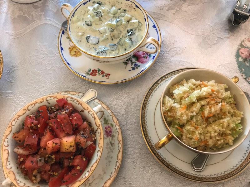 Salads at Whitney's Tea Room afternoon tea