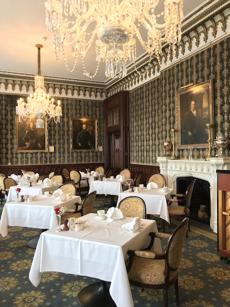 afternoon tea room at Dromoland Castle in County Clare, Ireland