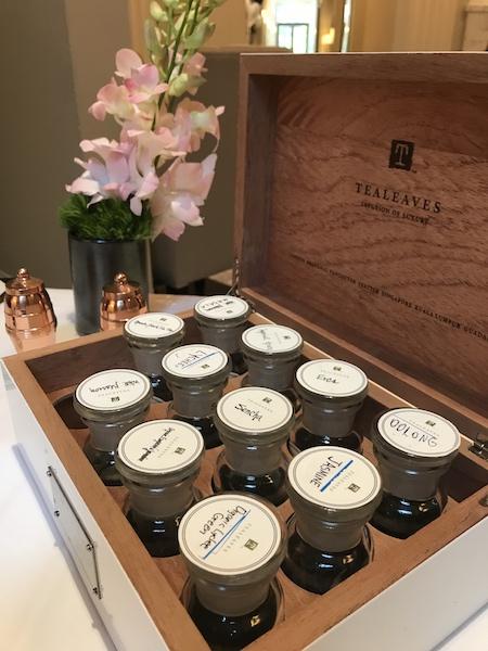 Sample tea jars from Tealeaves at Mandarin Oriental Atlanta