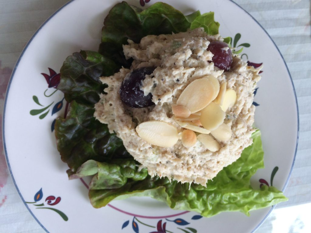 We enjoyed the fresh grapes in this homemade chicken salad.