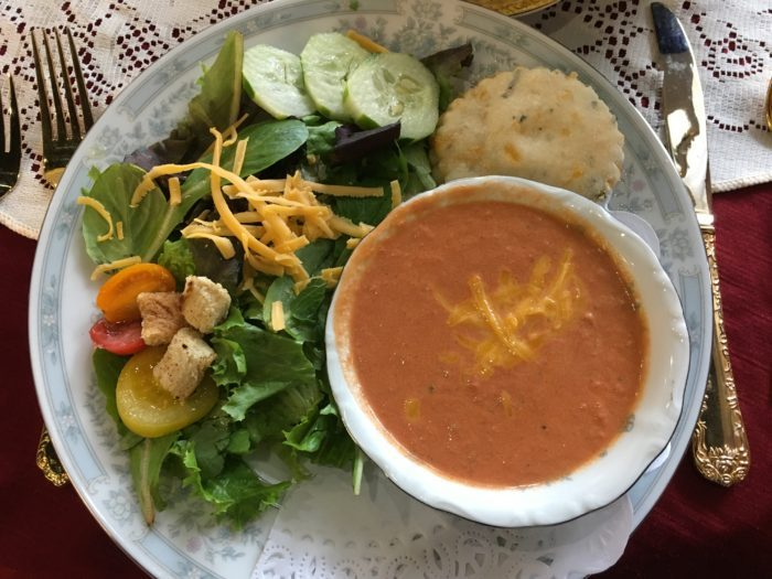 Salad and soup at Jessa's Tea Parlor