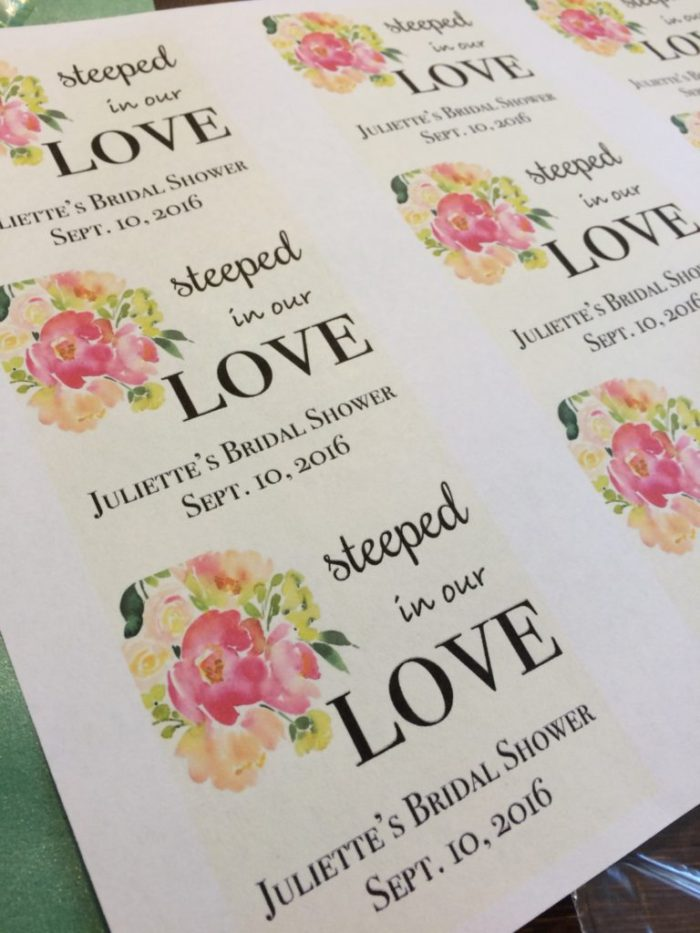 Tags for Steeped in our Love tea party favors