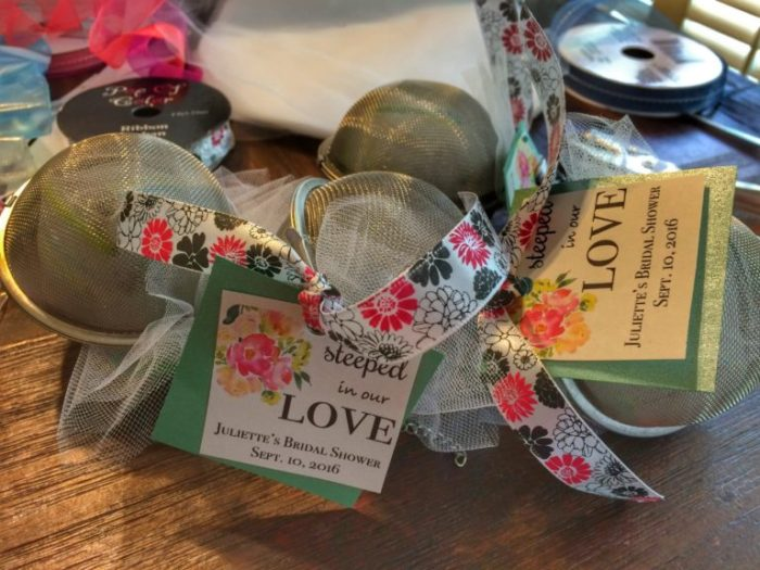 Finished tea infuser party favors