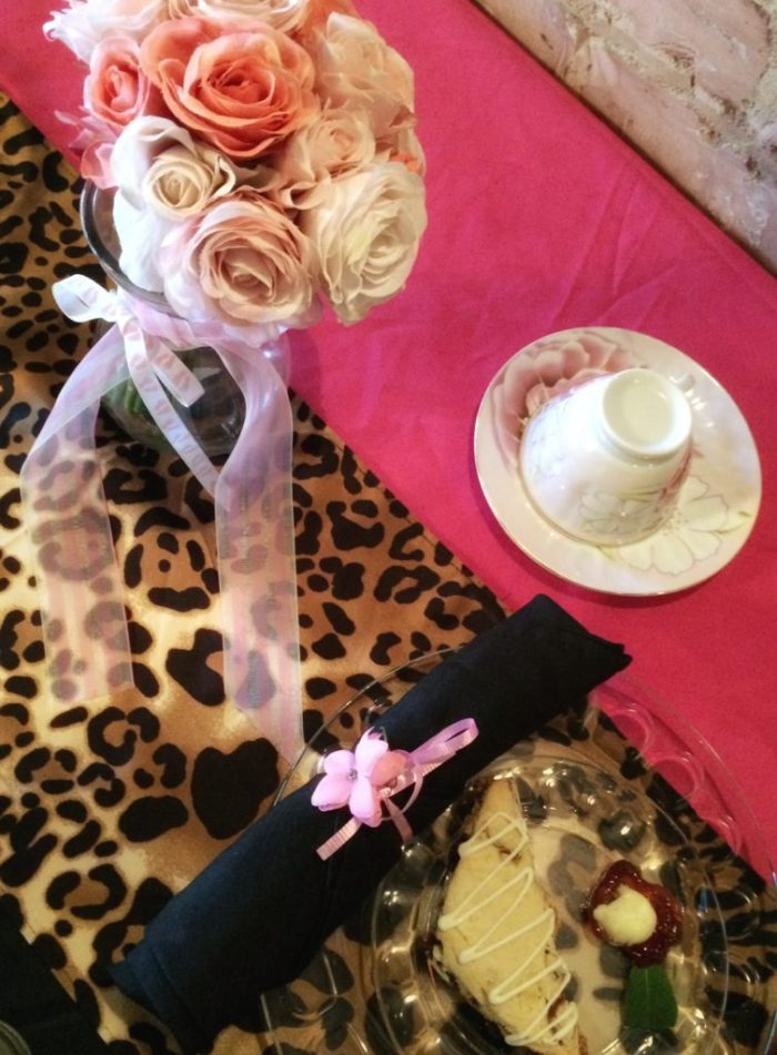 flowers, fuchsia and leopard print at Three Southern Girls Tea Room