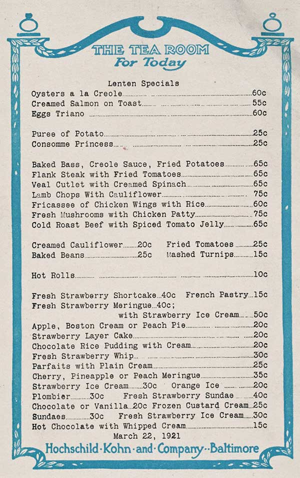 1920s tea room menu