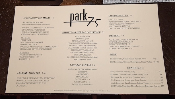 Tea menu at Park 75
