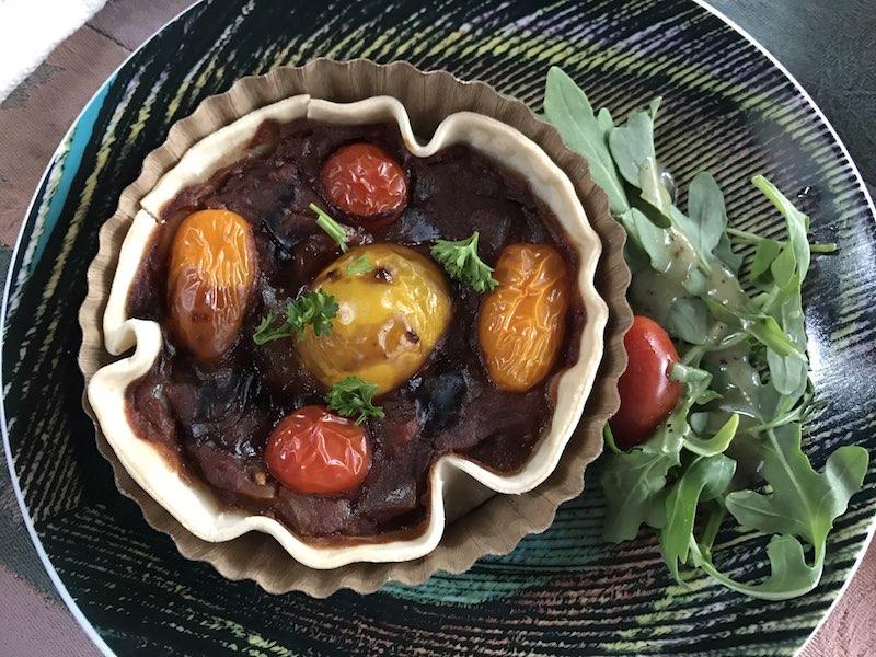 Tomato tart and salad at Peacock Tea Room