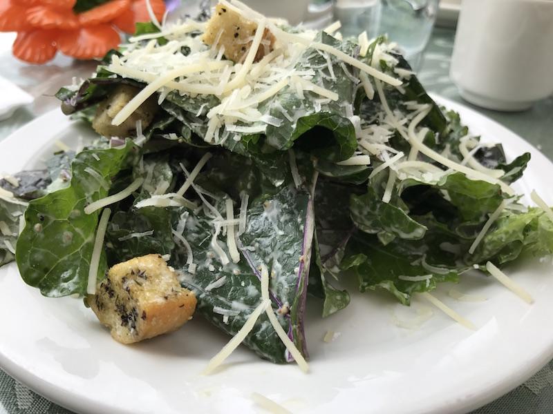 Kale caesar salad at Jewell Gardens