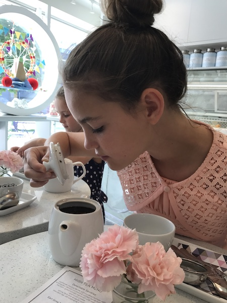 Smelling our tea at Soirette afternoon tea