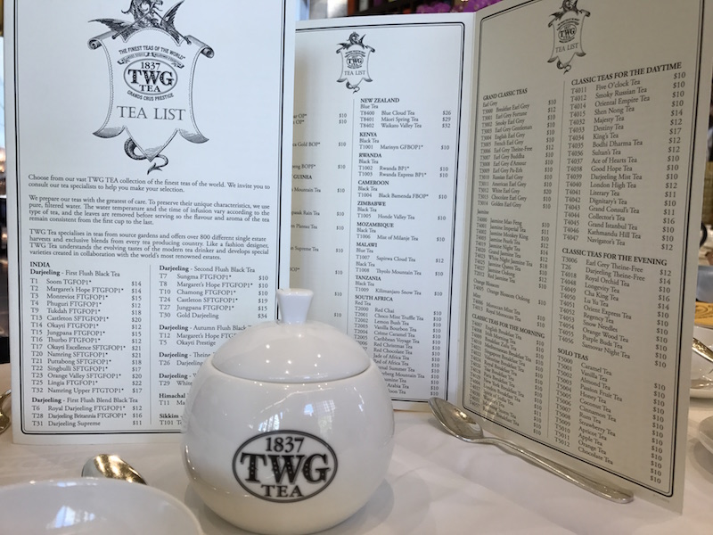 Extensive tea list at TWG Salon in Vancouver