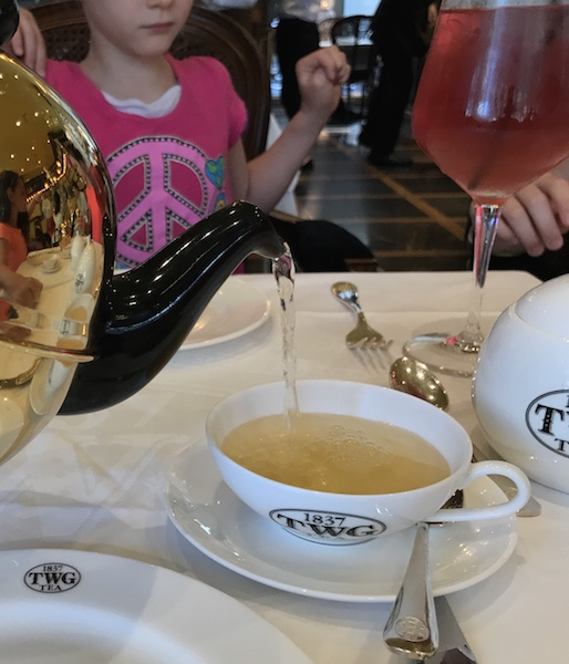 Pouring tea at TWG Salon in Vancouver