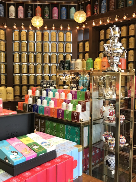 Rows of TWG Tea canisters in Vancouver and other gifts