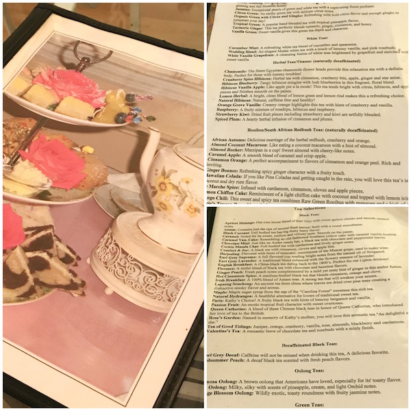 Extensive tea list at Calabash Garden afternoon tea