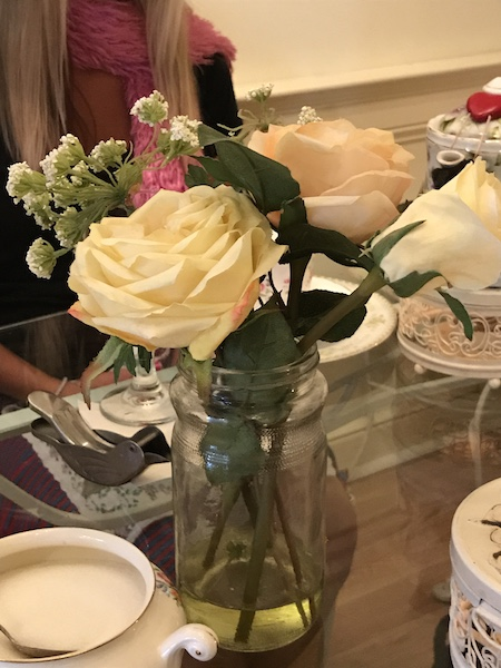 Floral centerpiece at Calabash Garden Tea Room
