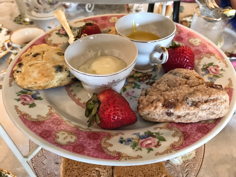 Heart-shaped scones and spreads at afternoon tea at Whitney's Tea Room