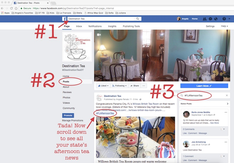 Hashtag search for state afternoon tea news on Destination Tea Facebook page