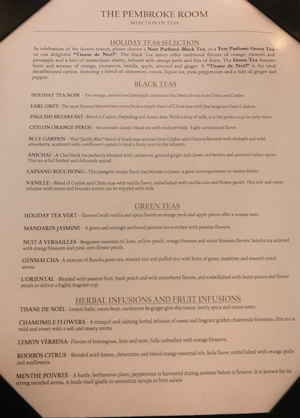 Tea list at The Lowell's Pembroke Room in NYC