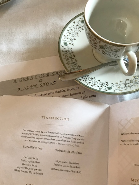 Tea menu at Mount Juliet Estate