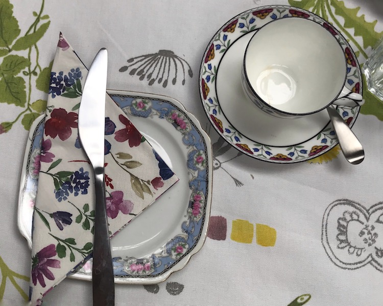 Mix-n-match floral china patterns at The Green Room at Springfield Castle