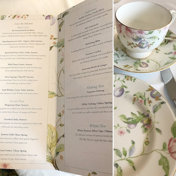 china pattern, tea menu at Dromoland Castle