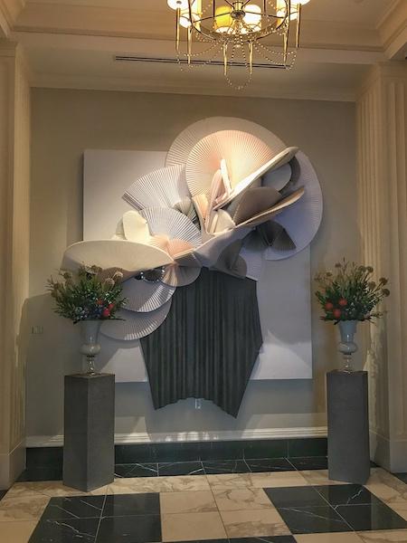 paper fans in Mandarin Oriental foyer