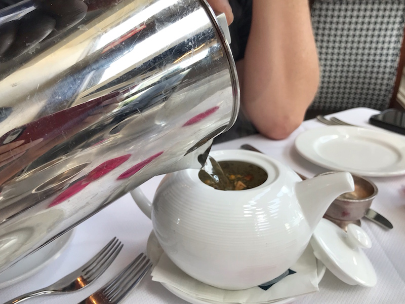 Steeping tea at Boston Harbor Hotel Rowes Wharf Sea Grille