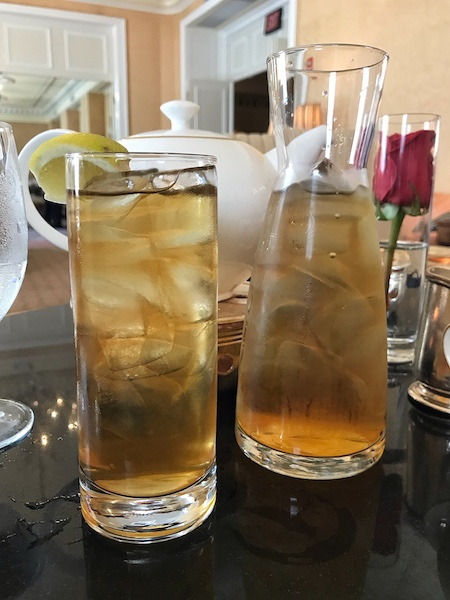 Carafe of iced tea at Taj Boston