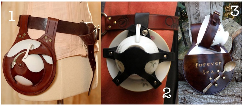 handmade leather teacup holsters
