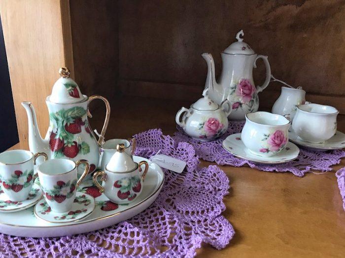 Mini tea sets at British Pantry & Tearoom in Centerville, GA