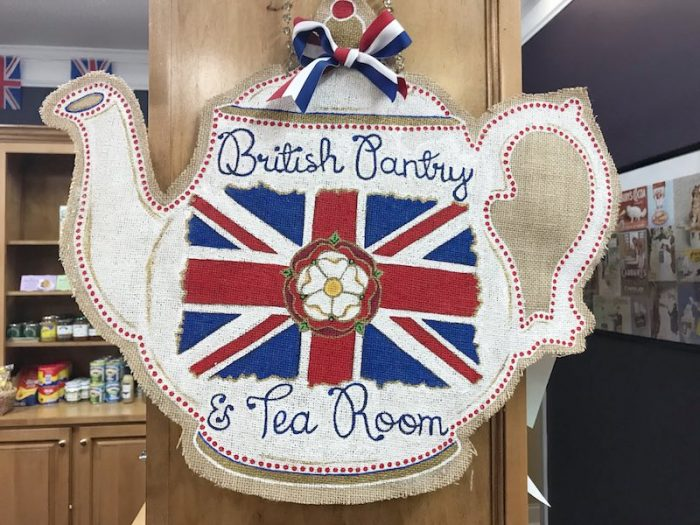 Sign in side British Pantry & Tearoom in Centerville, GA