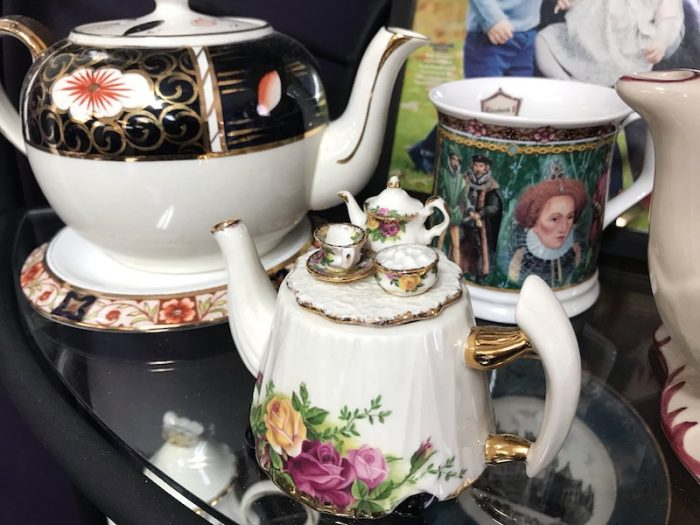 Teapots at British Pantry & Tearoom in Centerville, Ga