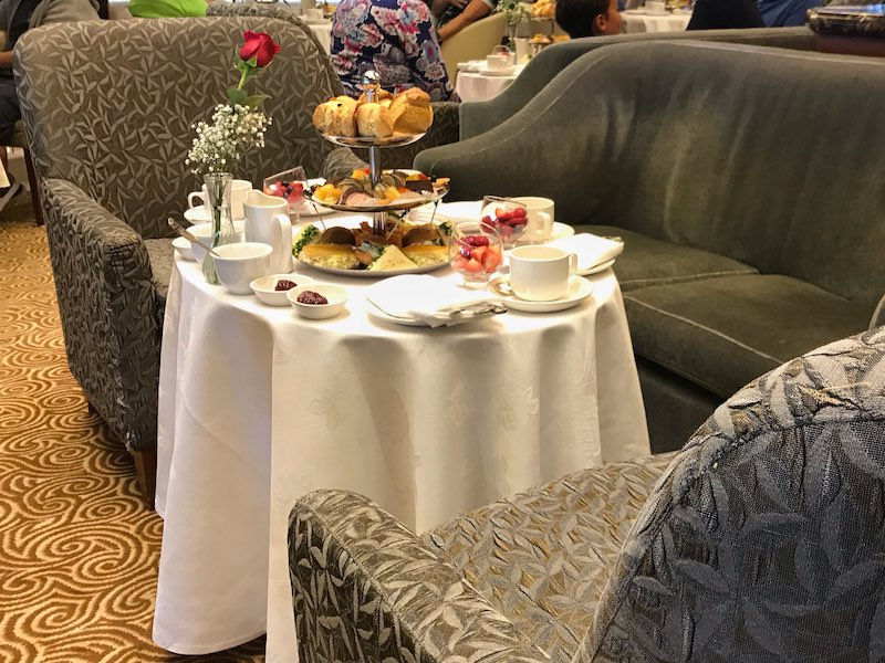 Seating for royal afternoon tea on Regal Princess cruise