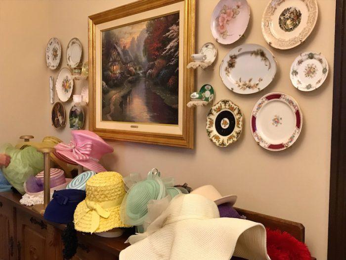 tea hats at Hearts Desire Tea Room, Alabama