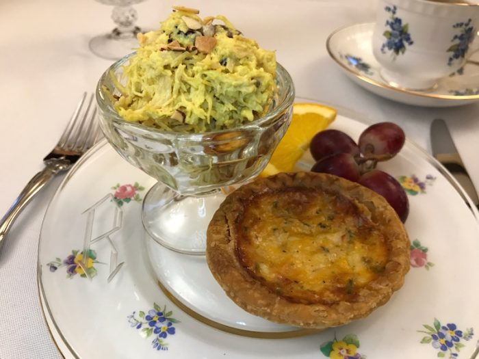 chicken salad and quiche at Hearts Desire Tea Room, Alabama