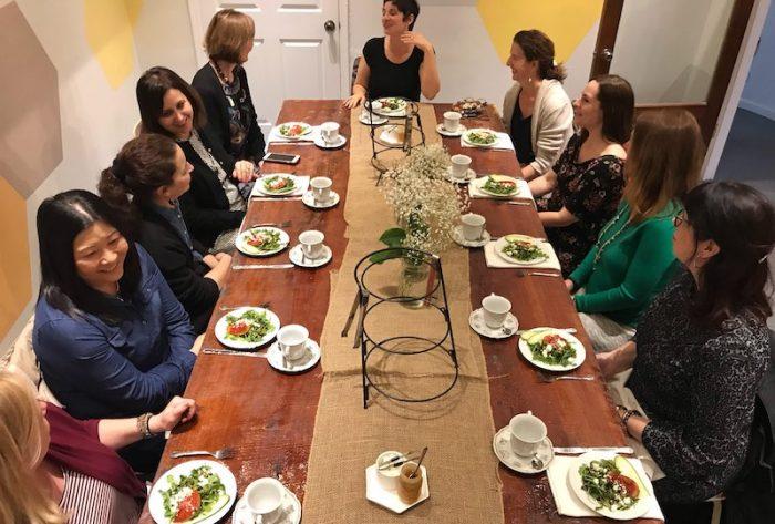 Table set for afternoon tea at Just Add Honey Atlanta Beltline